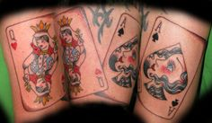 Queen of Hearts Ace of Spades Poker Tattoo, Queen Of Hearts Tattoo, Ace Of Hearts, Ace Of Spades, Wedding Tattoos, Ink, Artist, Cards, Empty