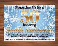 FIFTY WINTER BIRTHDAY Invitation  Fifty Stars by UniqueGoldenCards Rose Street, York Restaurants, Winter Birthday, Birthday Invitations, Rsvp, Handmade Gifts, Stars, Etsy, Handcrafted Gifts