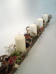 """Your place to buy and sell all things handmade : 100 cm-long advent arrangement """"Forest"""" advent wreath, Christmas flower arrangements, table decorations Christmas Flower Arrangements, Christmas Flowers, Noel Christmas, Christmas Candles, Christmas Is Coming, All Things Christmas, Floral Arrangements, Christmas Crafts, Xmas Decorations"""