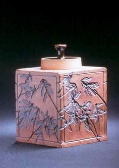 Labrador Tea Caddy - stoneware, slab-built, impressed and carved, stained and glazed.  Tracy Keats, Forteau Bay Pottery