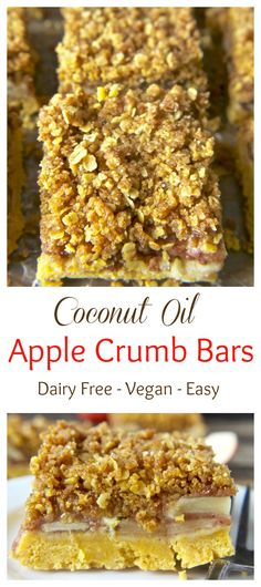 Coconut Oil Apple Crumb Bars- super easy and so delicious! Vegan and dairy free!!