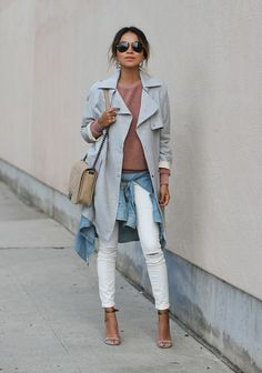 Grey Jacket, Topshop White Jeans http://FashionCognoscente.blogspot.com