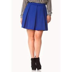 $15, Sophisticated Pleated Skater Skirt by Forever 21 Plus. Sold by Forever 21. Click for more info: http://lookastic.com/women/shop_items/39623/redirect