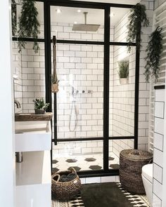 Bathroom Inspiration - we bring you bright ideas for how to design your living room, bedroom, bathroom and every other room in your house. Bad Inspiration, Bathroom Inspiration, Bathroom Ideas, Small Bathroom, Bathroom Goals, White Bathroom, Plants In Bathroom, Natural Bathroom, Bathroom Inspo