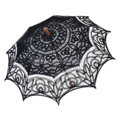 Black Battenburg Lace Victorian Wedding Umbrella Bridal Photo Props Parasol NEW
