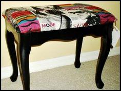 Bench using the Madonna magazine fabric
