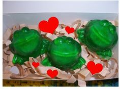"""adorable exploding frog soaps..... glycerin soaps have """"guts"""" made of sea salt, citric acid and other bath bomb ingredients.  When the water gets to the guts, they foam up and turn red!"""