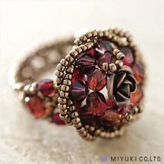 CREATE YOUR OWN MIYUKI BEADED RING KIT BURGUNDY ROSE SIZE 6 SBX from beadaholique.com