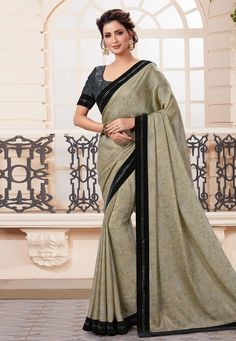 Taupe Crepe Chiffon Saree with Stone Worked Border Raw Silk Saree, Crepe Saree, Chiffon Saree, Indian Designer Sarees, Latest Designer Sarees, Indian Clothes Online, Online Shopping Clothes, Off White Designer, Trendy Sarees