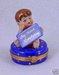 CUTE BABY BOY NEW HAND PAINTED AUTHENTIC FRENCH LIMOGES BOX MY FIRST BIRTHDAY