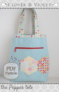 The Quilted Pepper Tote Bag – Free PDF Sewing Pattern + 5 More Hexie Bags to Sew - Herzlich willkommen Bag Patterns To Sew, Tote Pattern, Pdf Sewing Patterns, Quilting Patterns, Patchwork Bags, Quilted Bag, Craft Bags, Fabric Bags, Fabric Basket