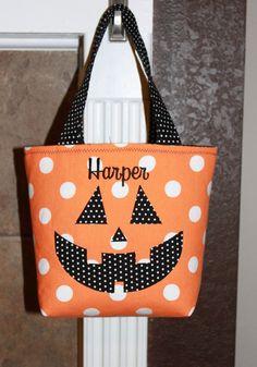 Personalized Halloween Trick Or Treat Bag Pumpkin