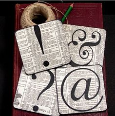 Coaster, (Coasters) - Express Yourself - Symbols - Vintage Dictionary - Altered book page   $15