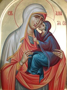 Anna by Violeta Nanova Byzantine Art, Byzantine Icons, Saint A, Orthodox Icons, Fresco, Madonna, Style Icons, Jesus Christ, Religion