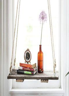 diy hanging glass shelves