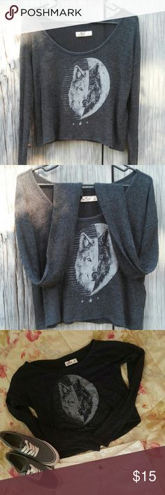 Hollister Long Sleeve Crop Top Perfect condition, only worn once. Dark grey crop top from Hollister, wolf print,  soft cloth material, no rips/tears or stains Hollister Tops Crop Tops