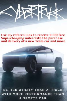 Use my referral link to receive 1,000 free Supercharging miles with the purchase and delivery of a new Tesla car. #tesla #cybertruck #teslatruck #cars New Tesla, Cyber, Delivery, Trucks, Vehicles, Truck, Cars, Vehicle