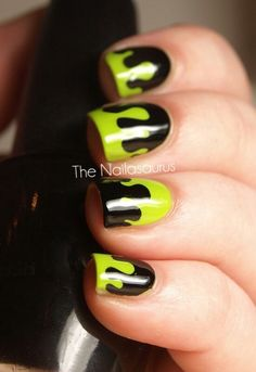 Halloween Nail Art Green Slime