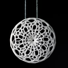 Cellular Pendant (white) 3d printed nylon necklace jewelry. $50.00, via Etsy.
