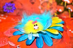 Blue And Yellow Bull Fascinator, Blue Hair Flower, Fluffy Clip, Decora, Blue Hair Clip, Kawaii, Animal, Geeky, Fairy Kei, Lolita Hair Clip