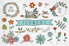 Check out Hand drawn flowers and wreaths by redchocolate on Creative Market