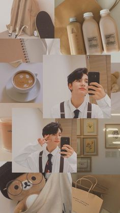 hyunjin aesthetic collage beige brown hwang anime icon background wallpapers collages pastel boy