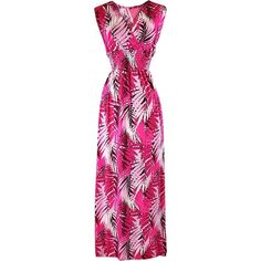 Hot Pink Tropical Leaf Empire Waist Maxi Sun Dress ($25) ❤ liked on Polyvore featuring dresses, hot pink, empire line dress, pink dress, pink sundress, sundress dresses and maxi dresses