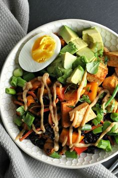 Black Rice Veggie Bowl with Miso Sauce (healthy vegetarian dinner recipe with tofu or make ahead for lunch)