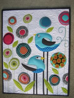 long legged bird applique folk art