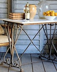 Vintage French Provincial Iron Marble Bakers Table