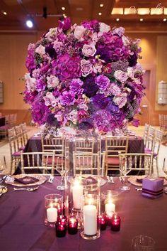Photographer: Carousel Photography; glamorous wedding centerpiece;