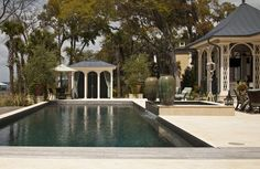 The pool at Paula Deen's Savannah estate features a dive-in theater for al fresco movie nights.