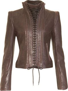 ShopStyle: Ann Demeulemeester Lace-Up Leather Jacket
