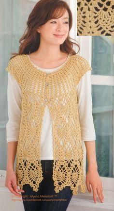 CARAMELO DE CROCHET: chaleco piñitas-crochet japonés