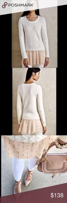 Selling this Anthropologie ivory blush Sweater Dress L on Poshmark! My username is: richbororiches. #shopmycloset #poshmark #fashion #shopping #style #forsale #Anthropologie #Sweaters