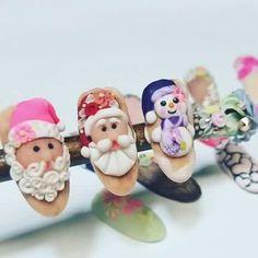 Navidad Nail Art Noel, 3d Nail Art, Cool Nail Art, 3d Acrylic Nails, 3d Nails, Christmas Nail Designs, Christmas Nail Art, Xmas Nails, Holiday Nails