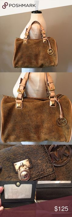 Real Michael Kors Beige And Black Purse Mk Monogram Inside Code Pp 1503 Fabric Gold Me
