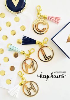 Monogram Keychains for Women Gold Keychain by ModParty on Etsy