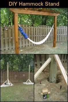 in your yard even without trees with this DIY hammock stand! Relax in your yard even without trees with this DIY hammock stand! Relax in your yard even without trees with this DIY hammock stand! Diy Hammock, Backyard Hammock, Hammock Stand, Backyard Landscaping, Landscaping Ideas, Diy Swing, Hammocks, Hammock Posts, Patio Hammock Ideas