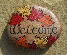 Welcome rock for fall decor