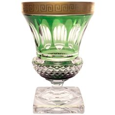 Val St. Lambert Grecian Key Footed 1920s Crystal Vase | From a unique collection of antique and modern vases at http://www.1stdibs.com/furniture/dining-entertaining/vases/