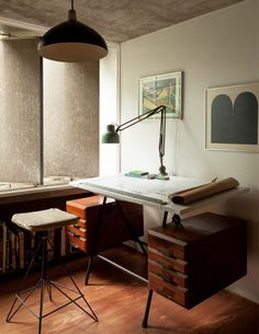 The São Paulo home of Julio Roberto Katinsky is a living, breathing masterpiece of Brazilian modernism: all curves, concrete and creeping vegetation. Furniture Projects, Home Furniture, Furniture Design, Home Office Space, Office Workspace, Office Lamp, Vintage Drafting Table, Drafting Tables, Drafting Desk
