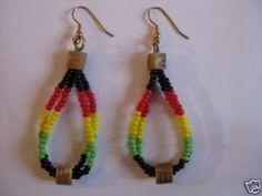 Ohrringe aus Kenia bunte Perlen, Afrika Rasta