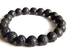"""Bracelet """"VOLCAN""""  homme en pierre de lave noire, 11€"""