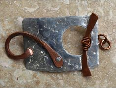 Sterling Silver and Copper Toggle Clasp Focal Piece by SunStones, $25.00
