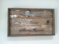 Handmade reclaimed wood art adorned with vintage auto emblems.  All Ford emblems: Ford F100, Futura, Fairlane, LTD & Country Squire.  Chuck does custom requests.  All Ford, all chevy or all Dodge pieces can can be accommodated.