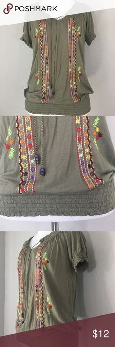 """American Rag Cie embroidered peasant top Small American Rag Cie top  Hippie peasant  Embroidered  Olive green  Size small  100% Rayon  Measurements laying flat  Armpit to armpit: 17.5""""  Nape to hem: 23"""" American Rag Cie Tops Blouses"""