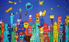 art lesson for children | Houses in the style of James Rizzi, group work, grade 6