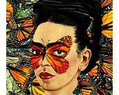 Frida Kahlo Butterfly Art Print Instant Digital Download Floral Boho Modern Home Decor Orange Black White Yellow Green Monarch Butterflies