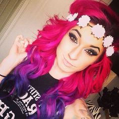 Pink and purple ombre hair with flower crown